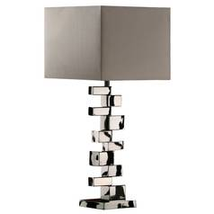 Modern Table Lamp with Grey Shade in Chrome Finish