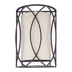 Sconce Wall Light with White Shades in Deep Bronze Finish