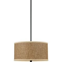 Quoizel Lighting Three-Light Drum Pendant with Rattan Shade ZE2816K