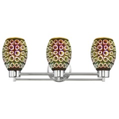 Chrome Bathroom Light and 3-D Glass with Ring Pattern