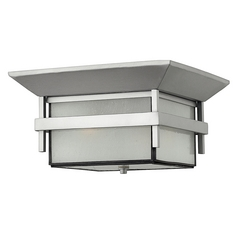 Hinkley Lighting Close To Ceiling Light with White Glass in Titanium Finish 2573TT-GU24