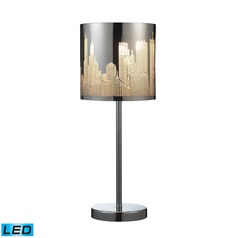 Dimond Lighting Polished Stainless Steel LED Table Lamp with Cylindrical Shade
