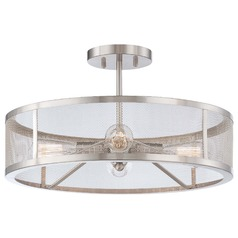 Downtown Edison Brushed Nickel Semi-Flushmount Light