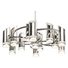 Modern Polished Nickel LED Chandelier with Frosted Shade 3000K 6250LM