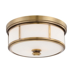Flushmount Light with White Glass in Liberty Gold Finish