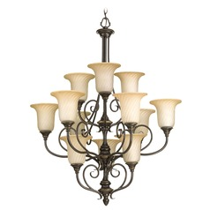 Chandelier with Beige / Cream Glass in Forged Bronze Finish
