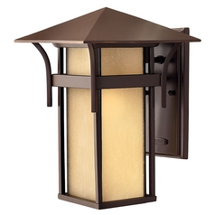 Outdoor Wall Light with Amber Glass in Anchor Bronze Finish