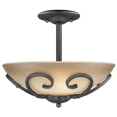 Golden Lighting Madera Black Iron Semi-Flushmount Light