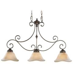 Feiss Lighting Island Light with Beige / Cream Glass in Corinthian Bronze Finish F1836/3CB