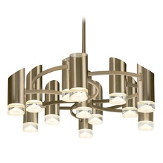 Modern Vintage Brass LED Chandelier with Frosted Shade 3000K 6250LM