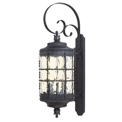 Outdoor Wall Light with Clear Glass in Spanish Iron Finish