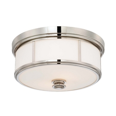 Flushmount Light with White Glass in Polished Nickel Finish