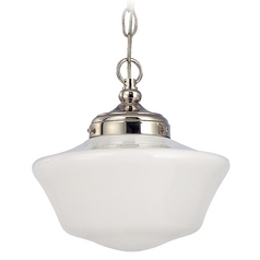 10-Inch Schoolhouse Pendant Light in Polished Nickel