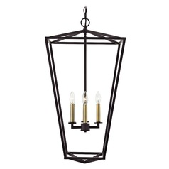 Lantern Pendant Light 4-Lt 33-Inch Tall Bronze and Brass