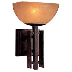 Minka Lighting Iron Oxide Single-Light Sconce with Scavo Glass