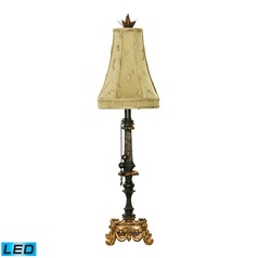 Dimond Lighting Black, Gold Leaf LED Table Lamp with Bell Shade