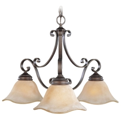 Chandelier with Beige / Cream Glass in Corinthian Bronze Finish