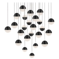 Modern Black LED Multi-Light Pendant with Frosted Shade 3000K 9600LM