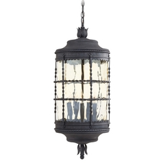 Outdoor Hanging Light with Clear Glass in Spanish Iron Finish