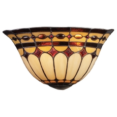 Sconce with Tiffany Glass in Burnished Copper Finish