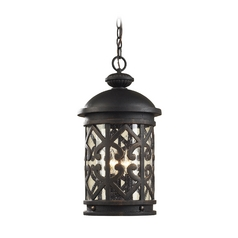 Outdoor Hanging Light with Clear Glass in Weathered Charcoal Finish