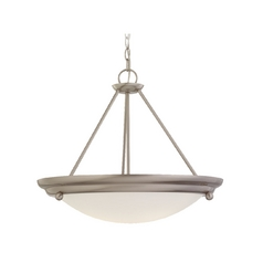 Pendant Light with White Glass in Brushed Stainless Finish