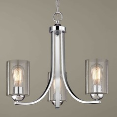 Seeded Glass Mini-Chandelier Chrome 3 Lt