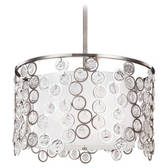 Feiss Lighting Lexi Polished Nickel Pendant Light with Drum Shade