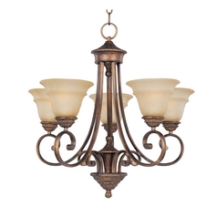 Chandelier with Beige / Cream Glass in Oil Rubbed Bronze Finish