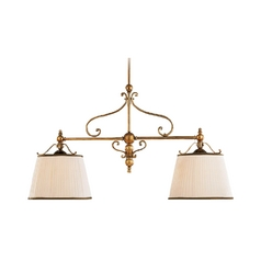 Drum Island Light with White Shades in Aged Brass Finish