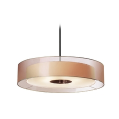 Modern Drum Pendant Light with Brown Tones Shades in Black Brass Finish