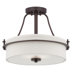 Semi-Flushmount Light with White Shades in Venetian Bronze Finish