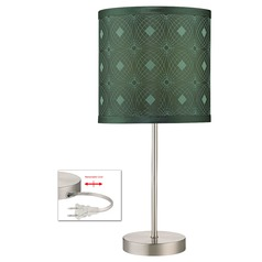 Table Lamp with Green Patterned Drum Shade