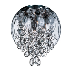 Crystal Flushmount Light in Polished Nickel Finish