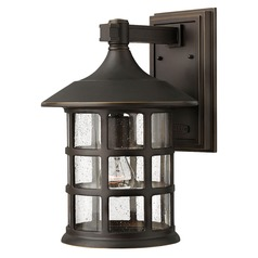 Seeded Glass Outdoor Wall Light Oil Rubbed Bronze Hinkley Lighting