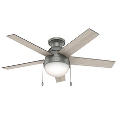 46-Inch Hunter Fan Anslee Low Profile Matte Silver Ceiling Fan with Light