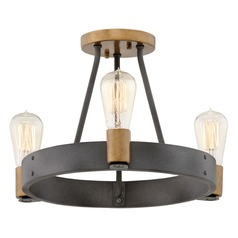 Hinkley Lighting Silas Aged Zinc / Heritage Brass Semi-Flushmount Light