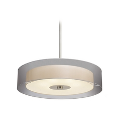 Modern Drum Pendant Light with Silver Shades in Satin Nickel Finish