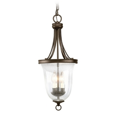 Progress Mini-Pendant Light with Clear Glass in Antique Bronze Finish