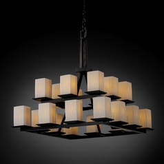 Justice Design Limoges 2-Tier 20-Light Chandelier in Matte Black