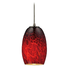 Mini-Pendant Light with Red Glass - Includes Recessed Adapter Kit