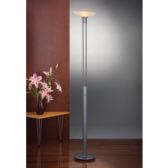 Holtkoetter Modern Torchiere Lamp with Beige / Cream Glass in Hand-Brushed Old Bronze Finish