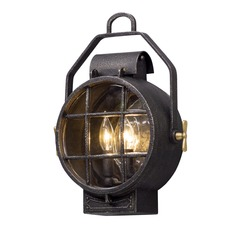 Troy Lighting Point Lookout Aged Silver with Polished Brass Accents LED Outdoor Wall Light