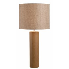 Kenroy Home Cedro Light Wood Grain Table Lamp with Drum Shade