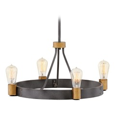 Hinkley Lighting Silas Aged Zinc / Heritage Brass Chandelier