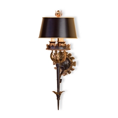 Plug-In Wall Lamp with Black Paper Shades in Zanzibar/gold Leaf Finish