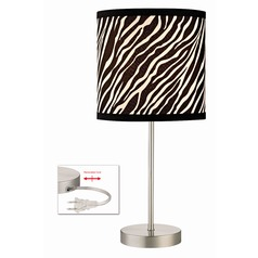 Satin Nickel Table Lamp with Drum Shade