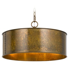 Cal Lighting Rochefort Distress Gold Pendant Light with Drum Shade
