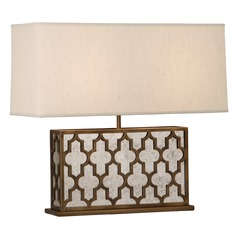 Robert Abbey Addison Weathered Brass W/antique Mirror Accents Table Lamp with Rectangle Shade