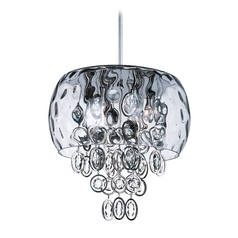 Crystal Drum Pendant Light with Clear Glass in Polished Nickel Finish